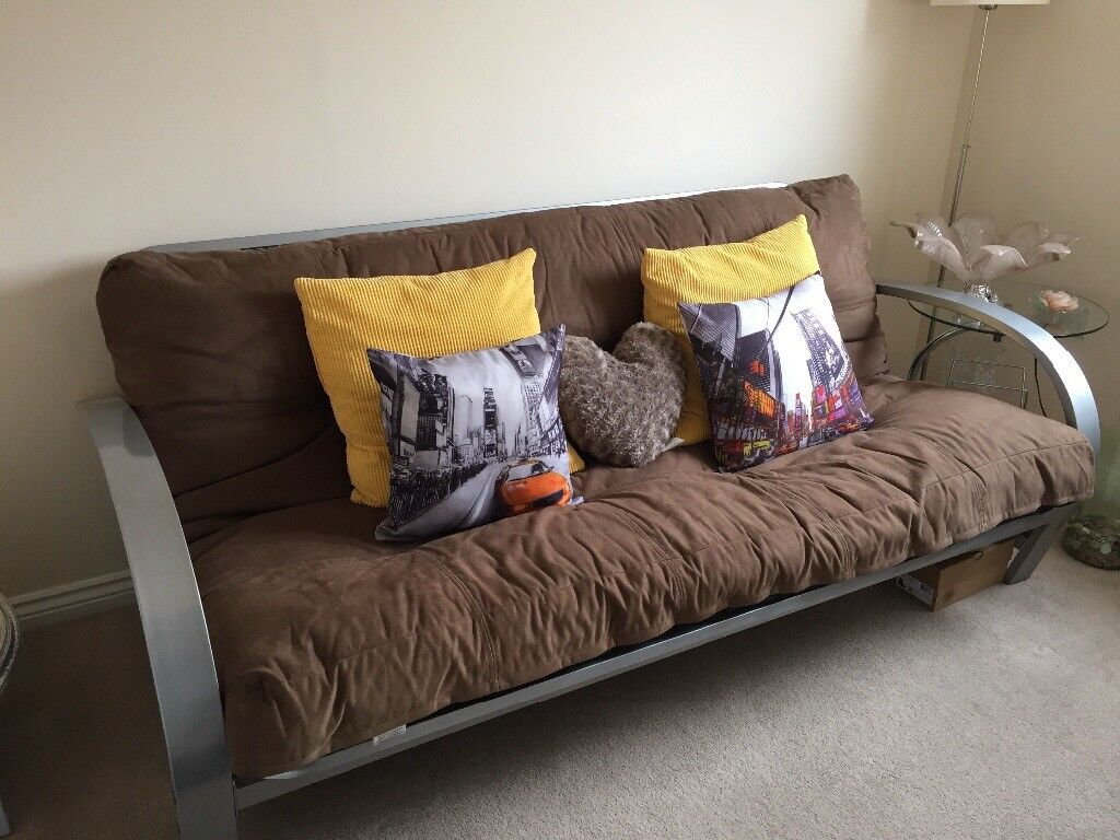 Bed Settee Sofa Brown Faux Suede
