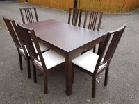 Ikea Bjursta Brown Extending Table & 6 Borje Chairs FREE DELIVERY 0104