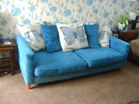 FREE - Blue sofa with butterflies on seats 4 people