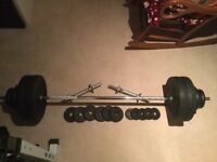 80kg of weights and bars plus bench