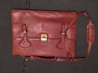 Slim leather ladies briefcase with shoulder strap