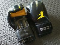 BRUCE LEE Signature Collection Boxing Gloves, Shin Guard, Martial Art Kick Boxing Muay Thai MMA Gear