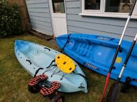 Ocean Kayak Frenzy x 2 with paddles and trolley
