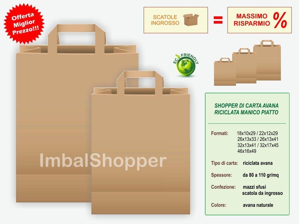 Buste shopper in carta avana - Sacchetti e borse di carta riciclata con manici
