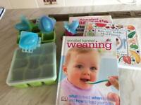Collection of Annabel Kramer baby weaning books and accessories