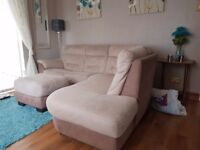 5 seater corner suite in cream and beige, excellent condition, pouffe included