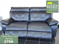 Designer Black leather 3 seater sofa + chair (48) £799