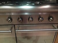 Smeg Range Cooker and Extractor 5 burner gas stainless steel double oven grill