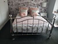 Silver double bed frame with memory mattress