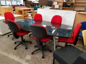 boardroom table with six chairs with power and internet points