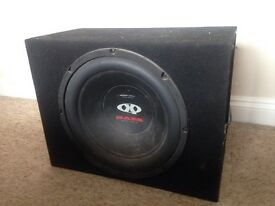 "Subwoofer box with 15""sub and 5 channel amp"