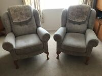 Pair of matching Hampton legged armchairs by HSL
