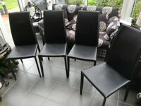 Dining/Kitchen black leather chairs