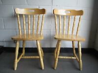 PAIR OF BIRCH FARMHOUSE STYLE DINING CHAIRS KITCHEN CHAIRS