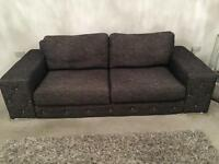 Grey 3 seater fabric couch & 1 seater with diamanté