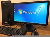 ***FULL SET Lenova Dual Core 4.4Ghz / 4GB Ram / Office + Dell Monitor Windows 7 Desktop PC Computer