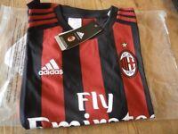 "Adidas Euro Football Shirt "" A,C,Milan "" Size 13/14 Yrs"