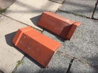 Red capped ridge tiles