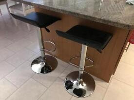 2 Kitchen bar gas lift black stools chrome base