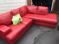 RED LEATHER CORNER SOFA ** FREE DELIVERY AVAILABLE **