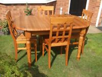 John Lewis Solid Pine Extendable Dining Table and Chairs
