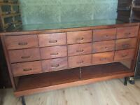 Vintage Industrial Haberdashery counter cabinet chest