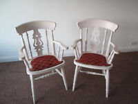 Old Shabby chic solid pine armchairs