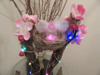 LED Driftwood Lamp Bird Best Pink Cherry Blossom Gorgeous USB Desk Lamp