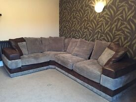 Stunning brown leather and beige fabric L shape corner suite