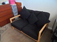 IKEA BLACK & WOODEN SMALL SOFA INC CUSHIONS