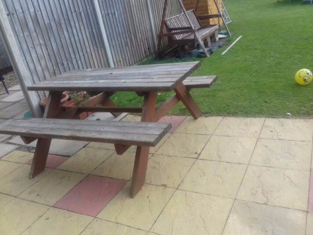 Large Solid Picnic Bench Table Chair Outside Garden Seating Pub