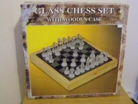 GLASS CHESS SET WITH WOODEN CASE COMPLETE BOXED.