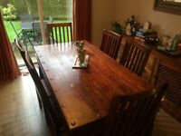 Solid wood dining room table, chairs and sideboard