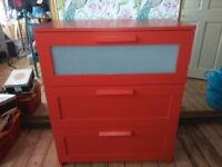 Red ikea Brimnes drawers