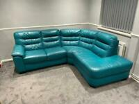 DFS real leather TEAL corner sofa in very good condition