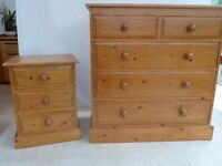 4 various sized solid pine chests of drawers
