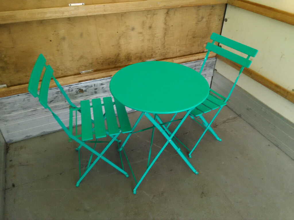 Habitat parc 2 seat metal bistro table and chairs green garden patio