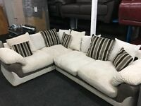 NEW / Ex Display Lullabye Cord + Half Leather Corner Group Sofa