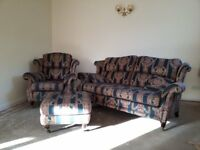 VINTAGE STYLE SOFA, CHAIR & FOOT STOOL