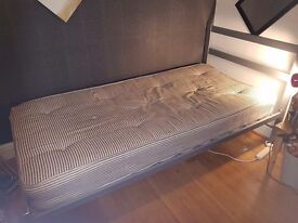 Single metal bed with matress