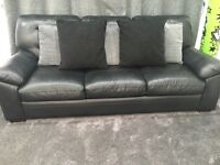 Black leather sofa's & swivel chair.. 3 seater, 2 seater & swivel chair