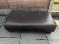 Leather footstool in brown large
