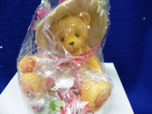 MIB CHERISHED TEDDIES AVON JANET 1997 BEAR STRAW HAT NIB YOU'RE AS SWEET A ROSE