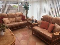Cane Conservatory Furniture set 3-2-1