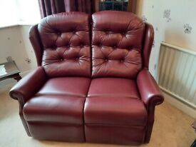 Burgundy Leather 2 seater and 2 manual recliner chairs