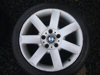 """BMW E46 3 SERIES 17"""" ALLOY WHEELS GOOD TYRES 7 SPOKE E36 225/45R17 5 X 120 PCD"""