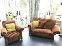 2 seater high back striped sofa with matching chair
