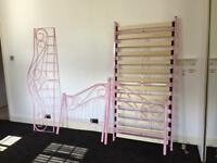 Pink single metal bed frame good condition
