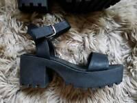 Chunky black sandals