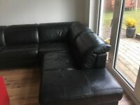 DFS Black leather corner sofa and cuddle chair